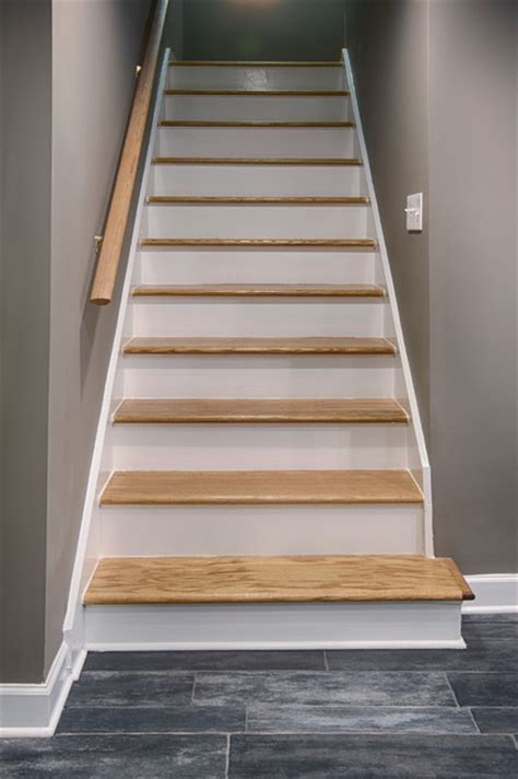 How To Remodel Basement Stairs by Basement Remodel Contemporary Staircase Other By