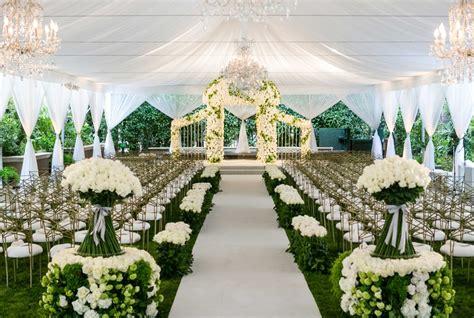 Ceremony Décor Photos   Elegant White & Green Tent