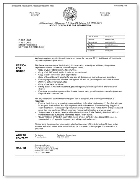 north carolina notice of request for information sample 3
