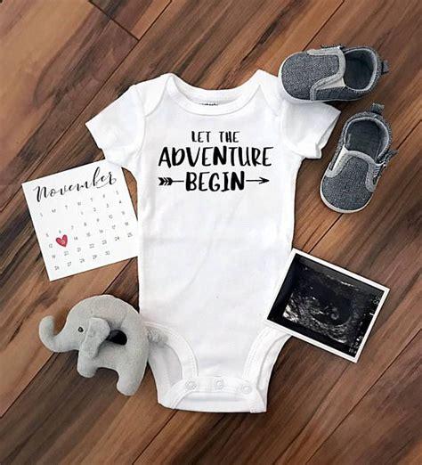 pregnancy announcement templates let the adventure begin custom baby bodysuit pregnancy