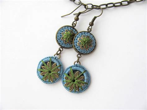 Handmade Crochet Earrings - green blue handmade crochet soft silk earrings by shopdelorai