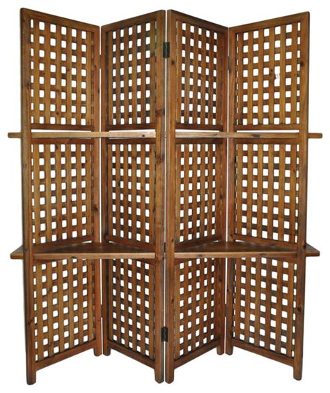 decorative room dividers cheungs home decorative accent 4 panel room divider with 2 shelves farmhouse screens and