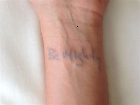 the blue tattoo wrist in light blue ink instead of words it would