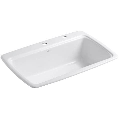 Kohler Cape Dory Drop In Cast Iron 33 In 2 Hole Single 2 Bowl Kitchen Sink
