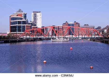 Detroit Swing Bridge At Salford Quays Linking The Lowry To