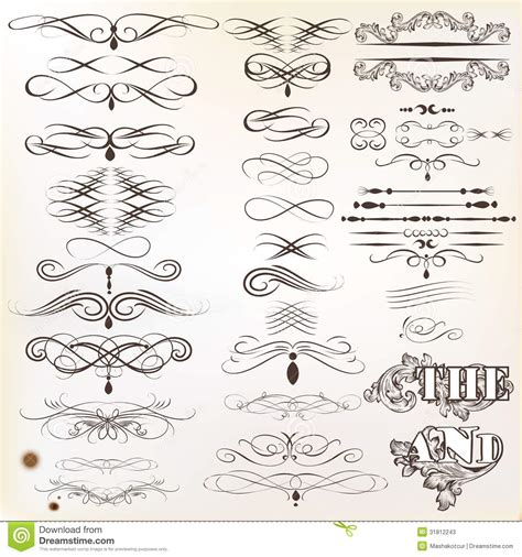 calligraphic vintage design elements vector collection free collection of vintage calligraphic design elements and