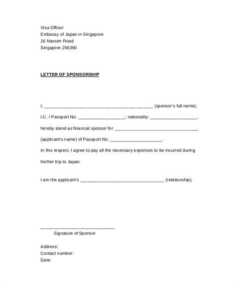 sponsor letter template for visa sponsorship letter exle 13 free word pdf psd