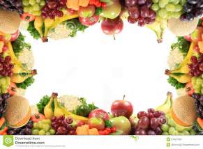 healthy fruits and vegetables border or frame stock image