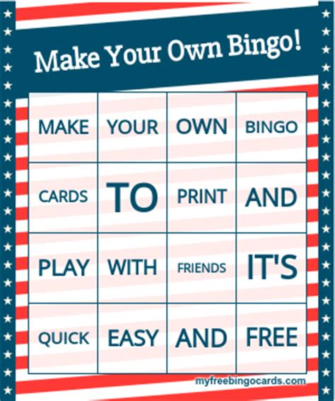 make your own card free and printable free printable bingo card generator