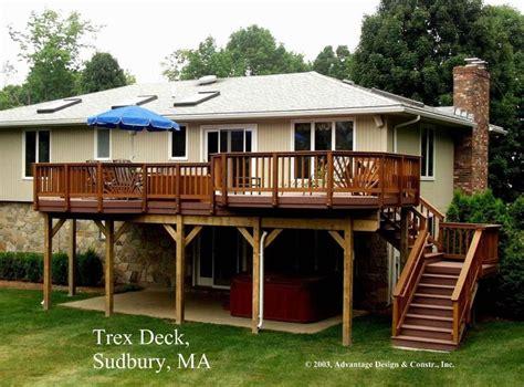 High Decks   High Madeira Trex deck over patio, Sudbury