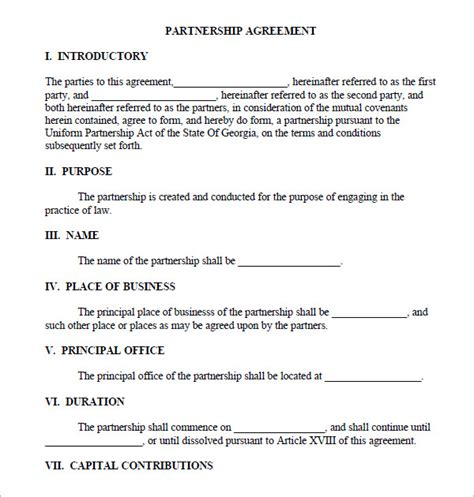 partner contract template business partnership agreement 6 documents in