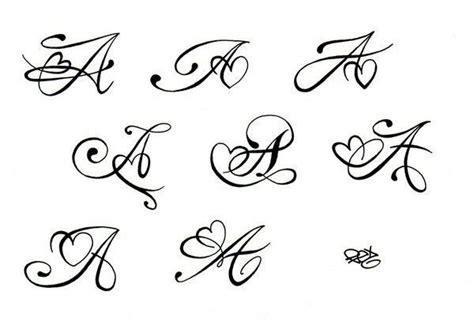 tattoo fonts with hearts initial a with swirl ideas