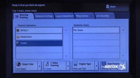 reset xerox workcentre password build a scan job xerox workcentre 5700 series youtube