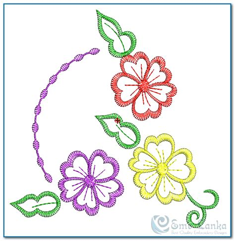 free embroidery templates 3 flowers embroidery design emblanka