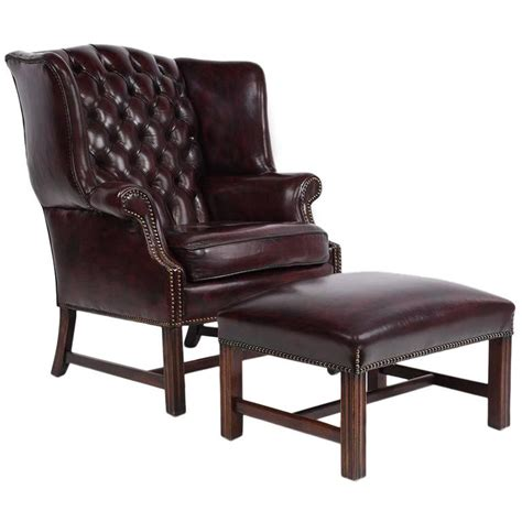 Leather Wingback Chair And Ottoman Chesterfield Tufted Leather Wing Back Chair And Ottoman For Sale At 1stdibs