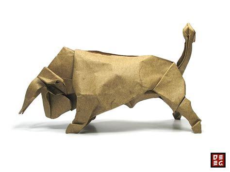 Bull Origami - origami bull by origamikuenstler on deviantart