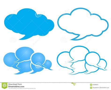Blue Outline by Vector Chat In A Cloud Of Blue And White With A Blue Outline Stock Vector Image 63399933