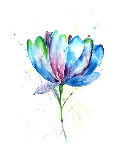 watercolor tulip tattoos tulip flower watercolor blue painting nature illustration