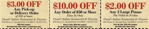 Ls Usa Coupon by Dusal S Pizza And Italian Restaurant In Kendall Park Eat