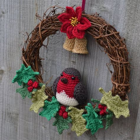 crochet pattern for xmas wreath crochet christmas wreath with robin poinsettia holly and