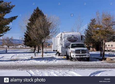 rv winter garden rv fifth wheel trailer and dodge truck winter cing in
