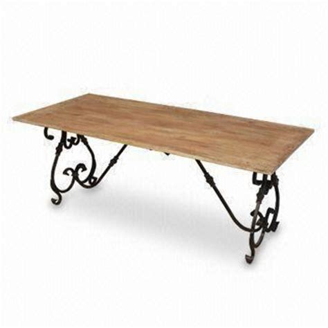 Wood And Wrought Iron Dining Tables Wrought Iron Dining Table With Brass Fitting And Mango Wood Top Measures 180 X 80 X 76cm
