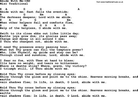 Wedding Song Lyrics And Chords by Wedding Hymns And Songs Abide With Me Lyrics Chords