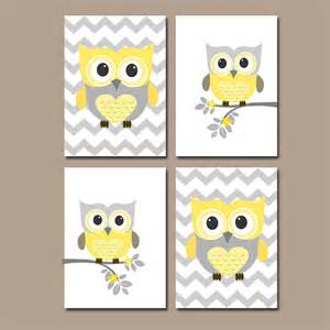 Nursery Owls Decor Yellow Gray Owl Nursery Prints Nursery Wall By Trmdesign