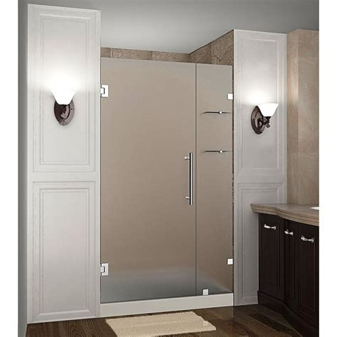 Frosted Shower Glass Doors Aston Nautis Gs 37 In X 72 In Completely Frameless Hinged Shower Door With Frosted Glass And