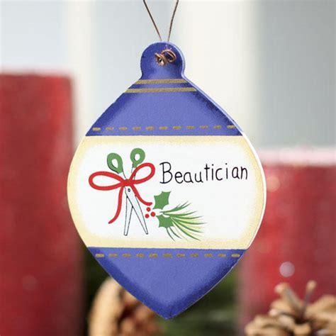 flat wood quot beautician quot christmas bulb ornament christmas