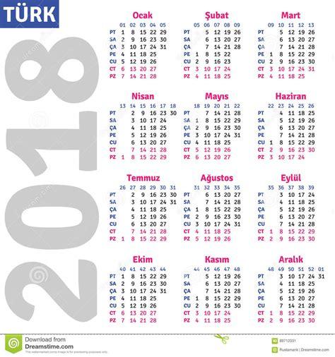 Uruguay Kalender 2018 Turkish Calendar 2018 Stock Vector Image Of Month