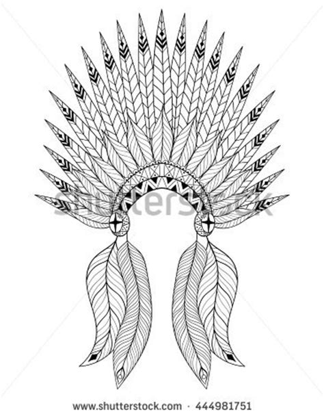 coloring page indian headdress hand drawn native american indian headdress stock vector