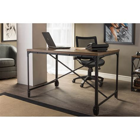 Industrial Wood Desk Modern Furniture Brickell Collection Home Office Wood Desk