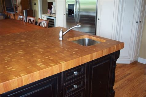 cherry butcher block counter top traditional kitchen