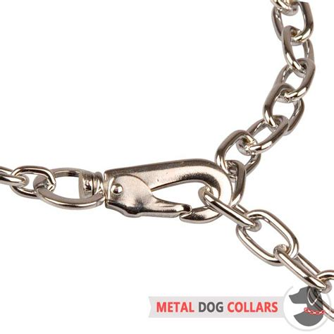 chain collars fur saver collar with snap hook choke collar steel chrome plated hs7 1091