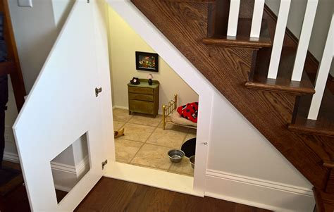 bedroom under the stairs this woman built her dog a bedroom under the stairs and