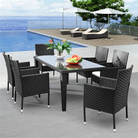 Furniture Hartley Glass Dining Table And Rattan Chairs Wicker Kitchen Furniture