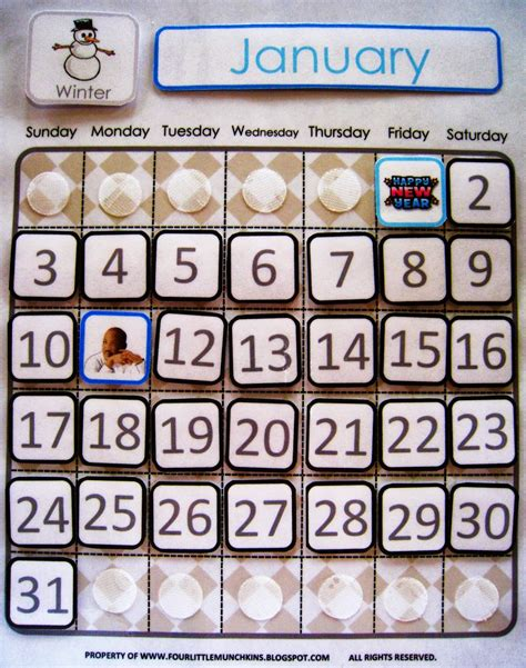 7 Best Images of Printable Classroom Calendar Pieces