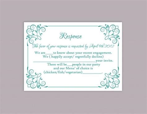 rsvp cards templates sheet printable multiples diy wedding rsvp template editable text word file