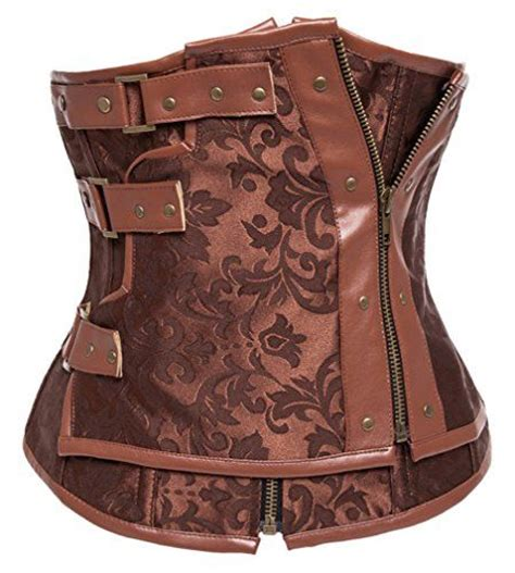 charmian 174 s retro brocade steel boned steunk faux leather underbust corset brown xxxxxx this charmian s steunk brocade zipper steel boned underbust corset