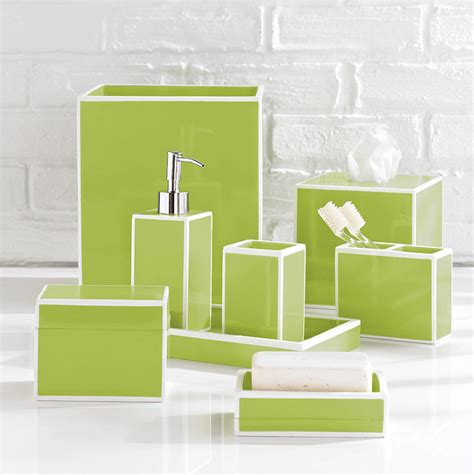 Quot Soho Green Quot Bathroom Accessories By Kassatex Contemporary Bathroom Accessory Sets