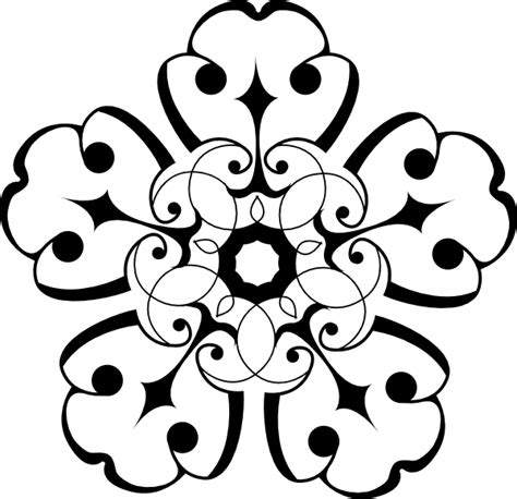 White And Black Ornamental Flower Clip Art at Clker.com   vector clip art online, royalty free
