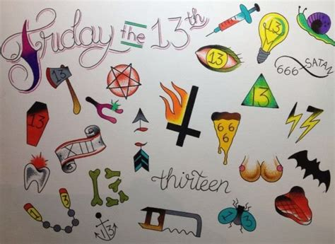13 dollar tattoos flash for our friday the 13th event 13 tattoos plus
