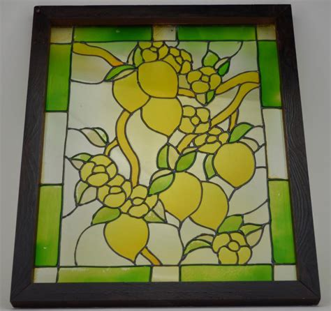 stained glass window decoration lemon design wall