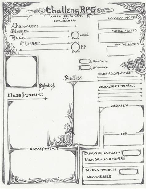 Playmobil Character Card Template by Challenger Rpg Character Sheet Version Challenger