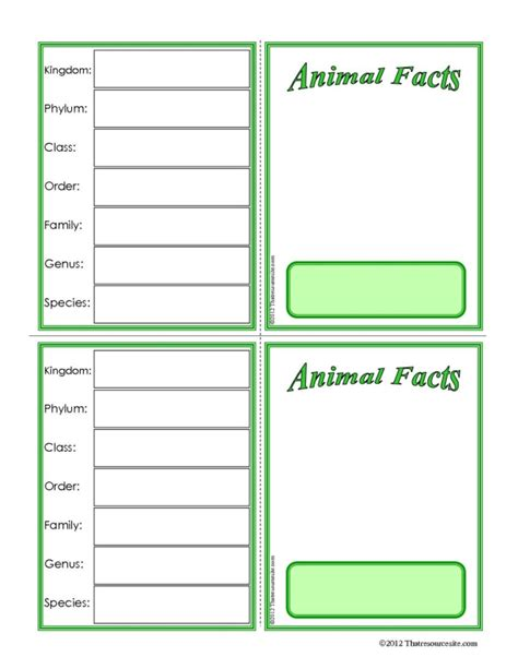 animal card template nature study that resource site part 5