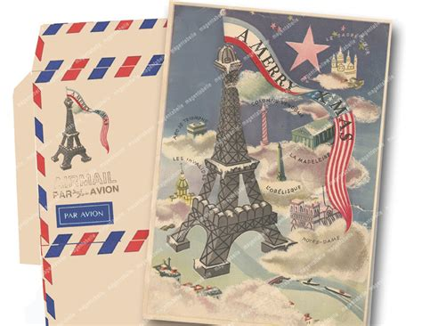 printable christmas cards in french vintage airmail printable christmas card and envelope vintage