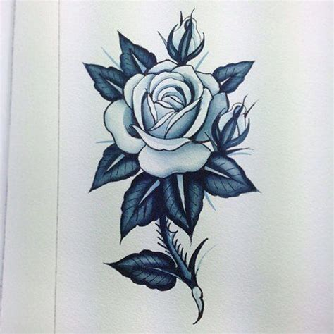 rose and thorns tattoo with thorns drawing stem