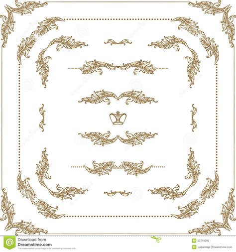 decorative drawing borders vector set of gold decorative borders frame stock vector