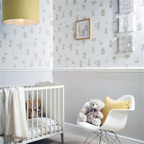 Babyzimmer Unisex Gestalten by Arthouse Hugs Teddy Pattern Moon Nursery